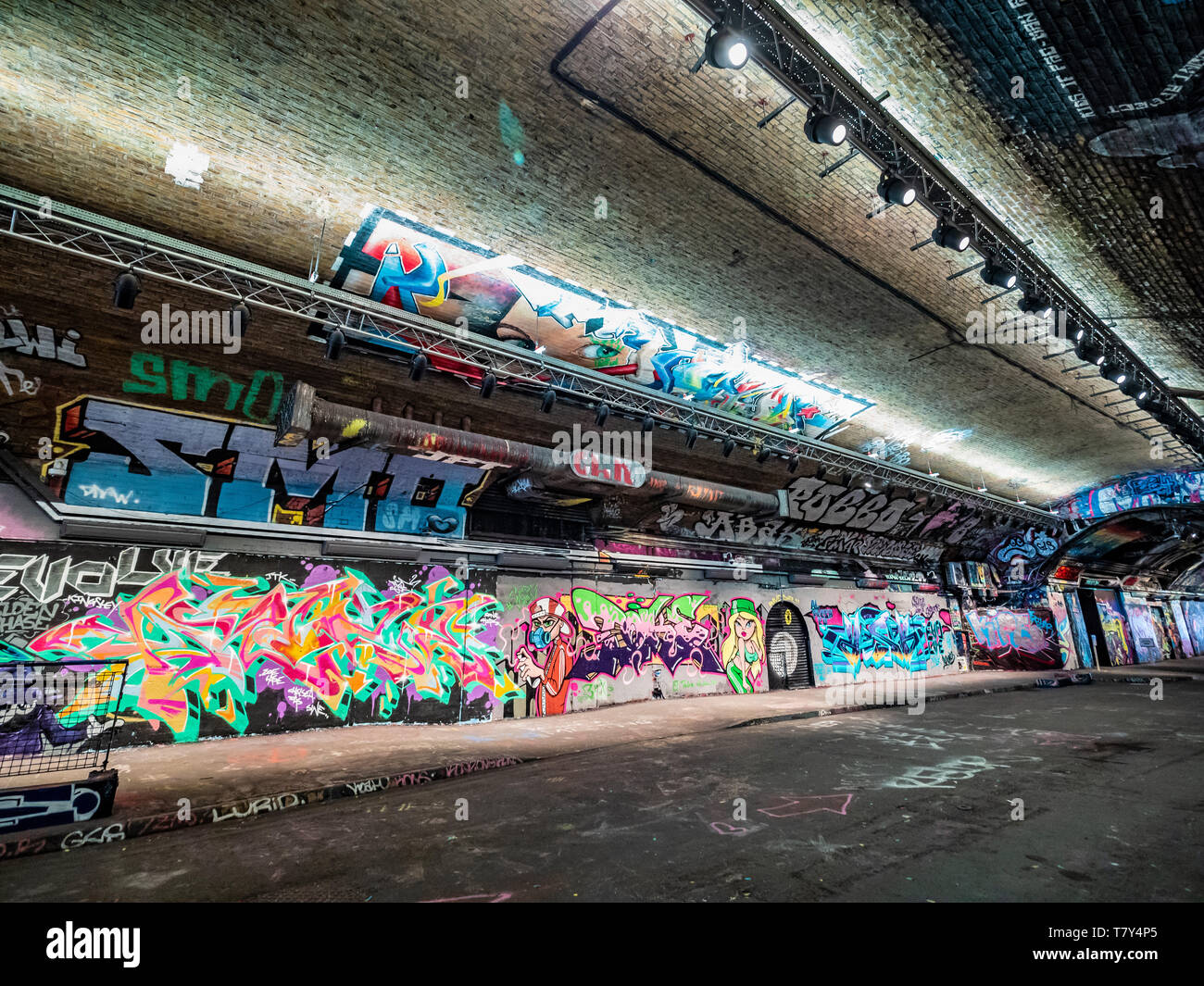 The Banksy Tunnel, ( Leake St Tunnel or Leake Street Arches ) legal Graffiti venue under Waterloo train station, London, UK. - Stock Image