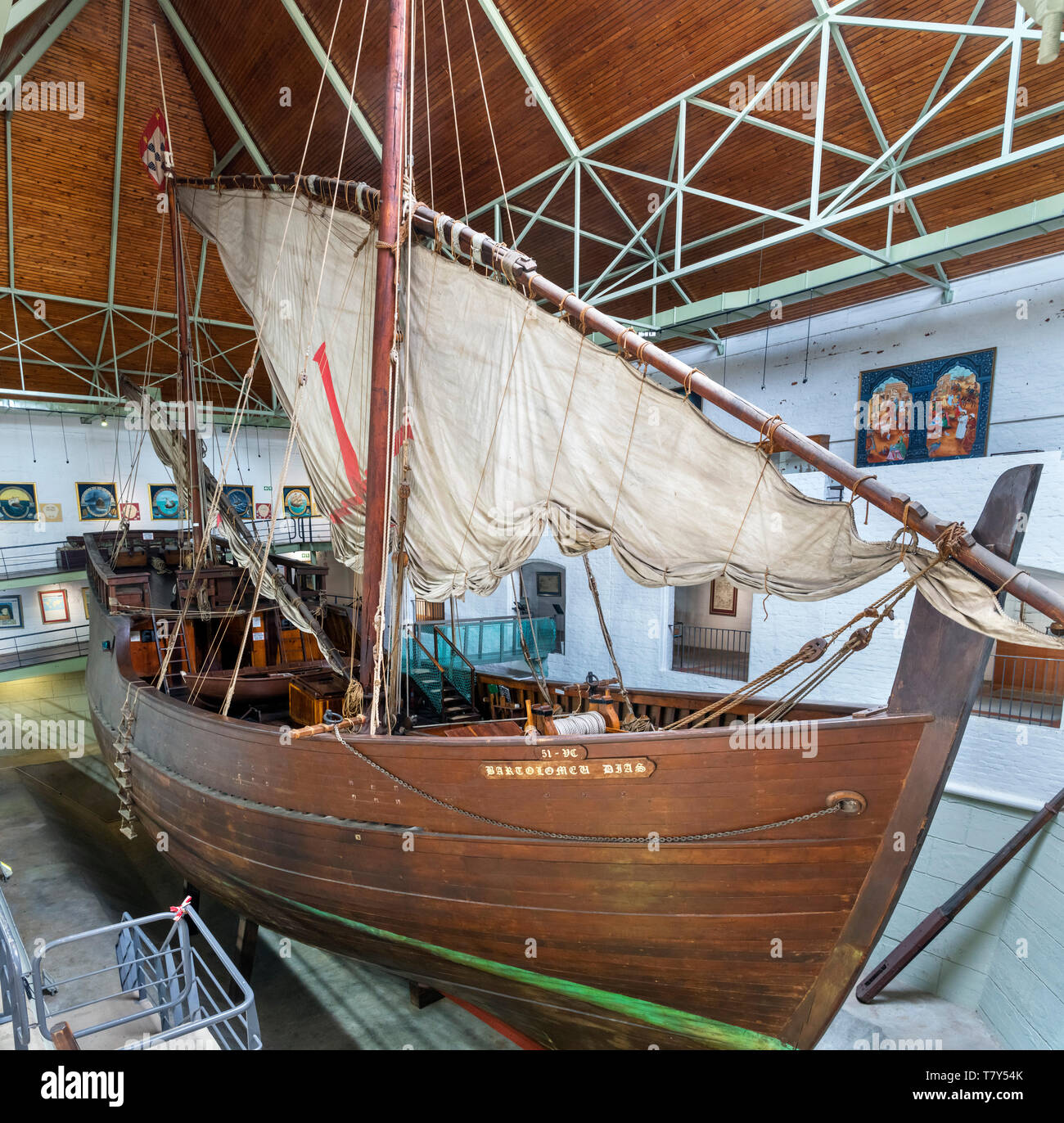 Replica of the caravel used by Bartolomeu Dias, Dias Museum Complex, Mossel Bay, Garden Route, Western Cape, South Africa - Stock Image
