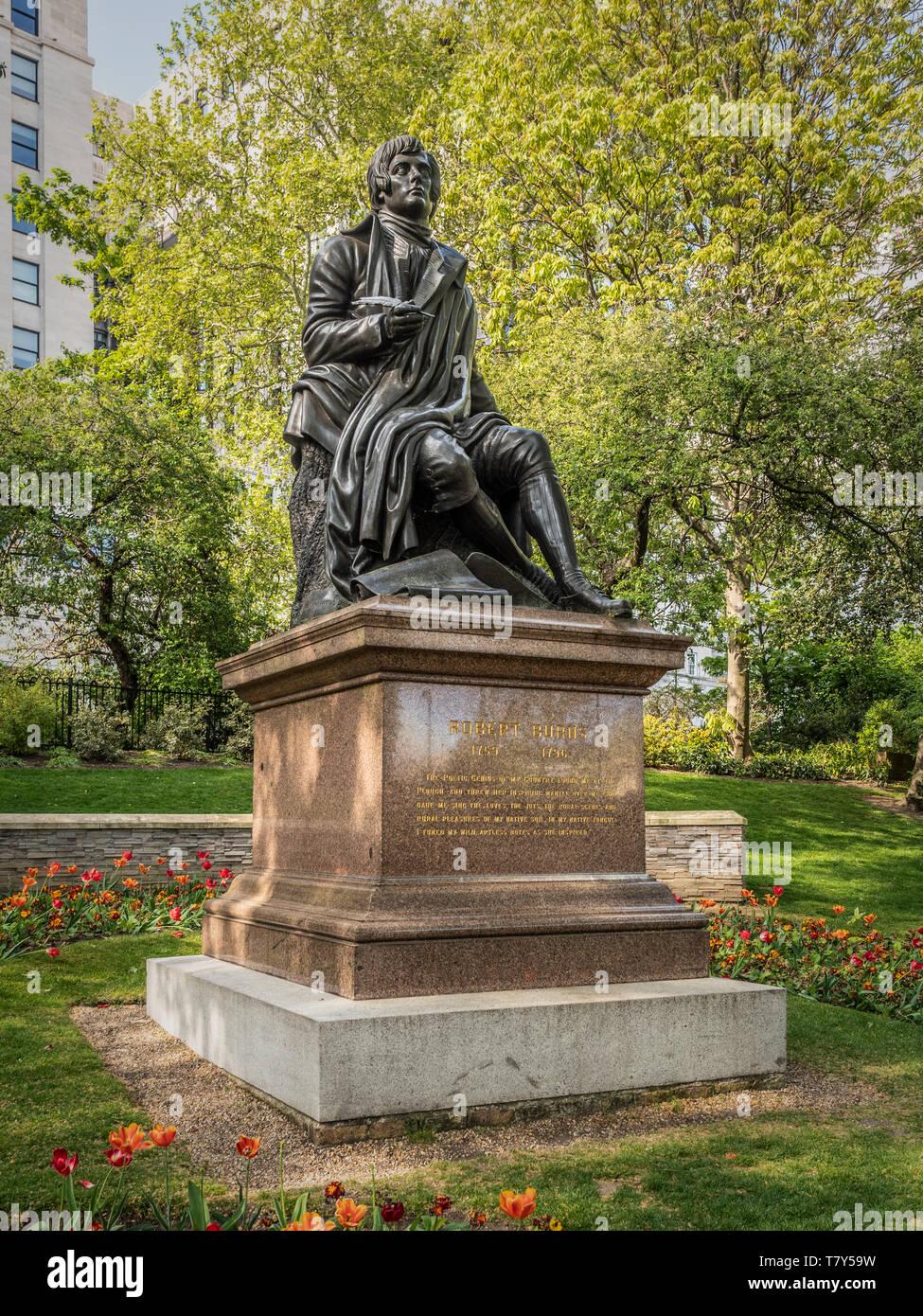 Robert Burns statue in Victoria Embankment Gardens, London, UK. - Stock Image