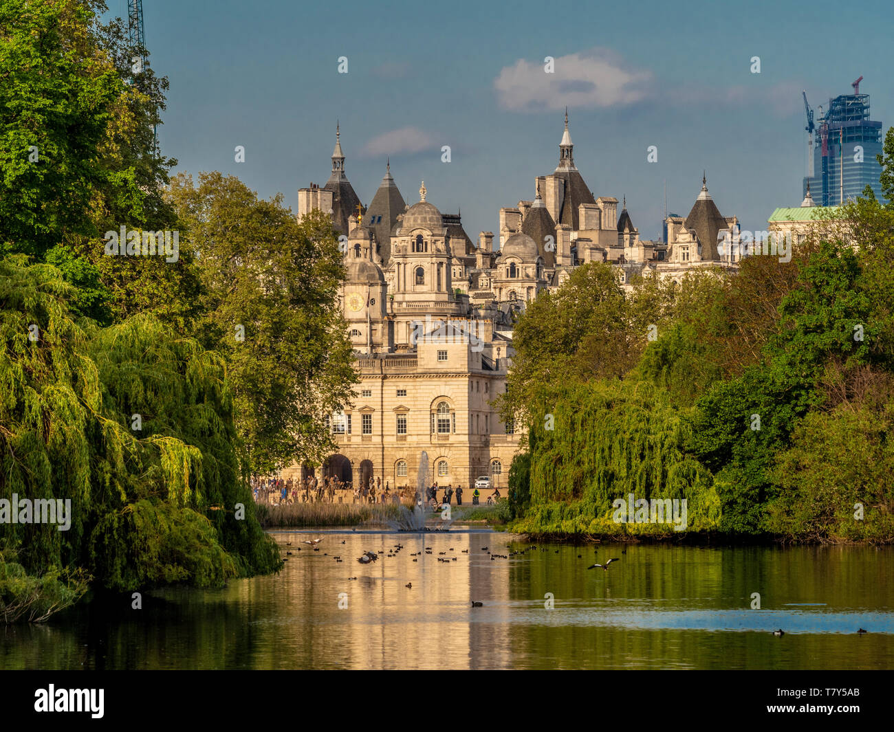 View across St James Park Lake towards Horse Guard and Whitehall, London, UK. - Stock Image