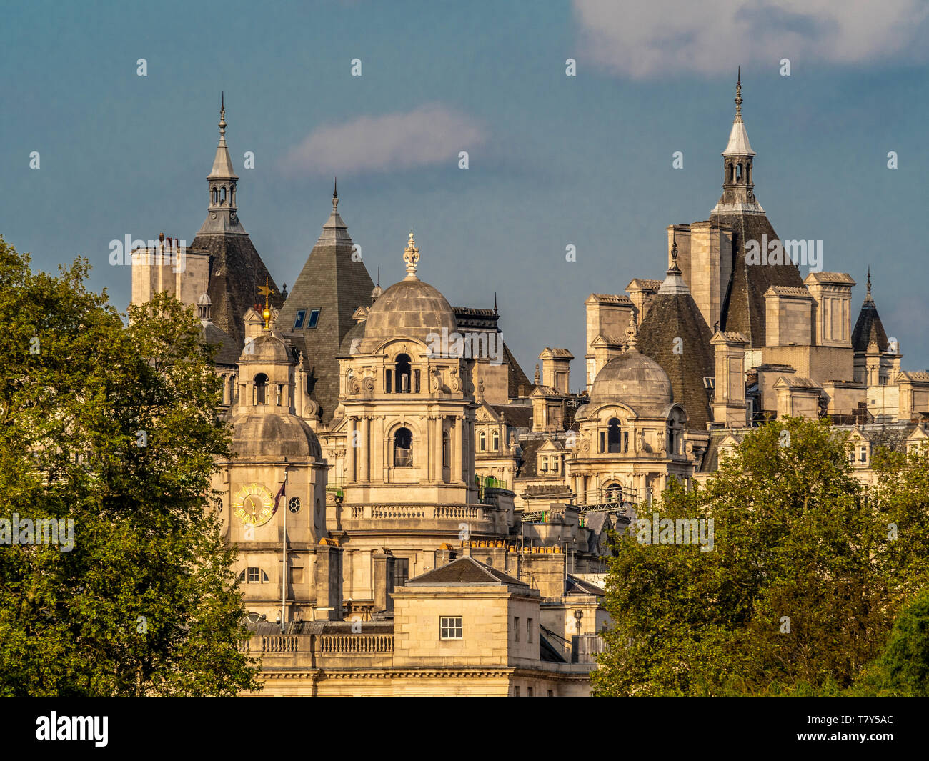 View from St James Park towards Horse Guard and Whitehall, London, UK - Stock Image