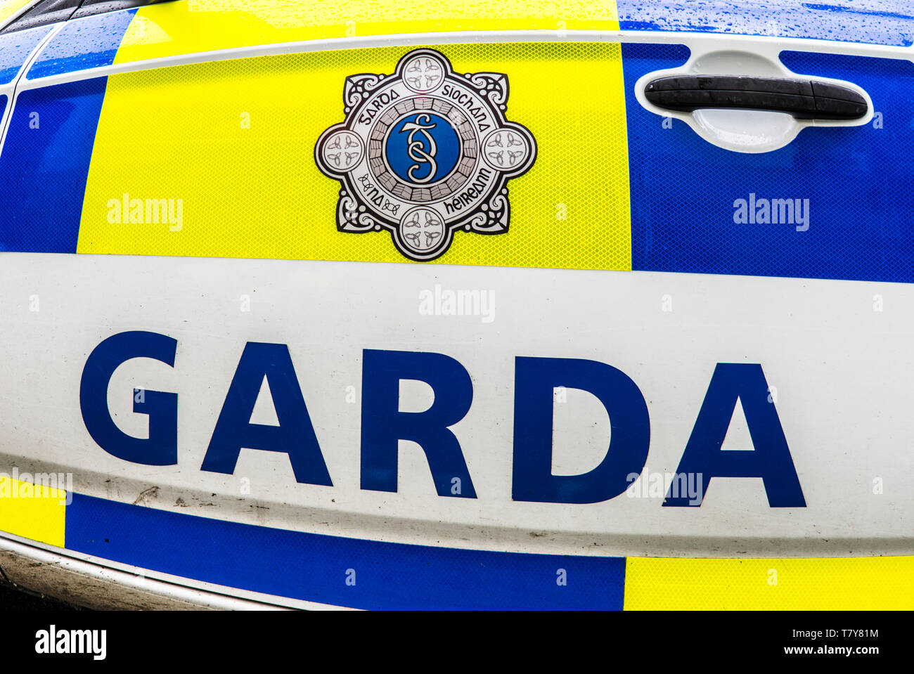 A car from Garda National Roads Policing Bureau or GNRPB. The roads policing unit of the Garda Síochána. Prior to 2018, it was known as the Garda Traf - Stock Image