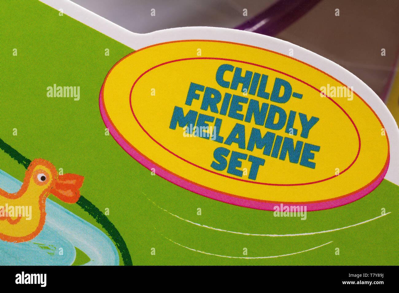 Child friendly melamine set - detail on box of Kinnerton Peppa Pig Easter Gift Set - Stock Image