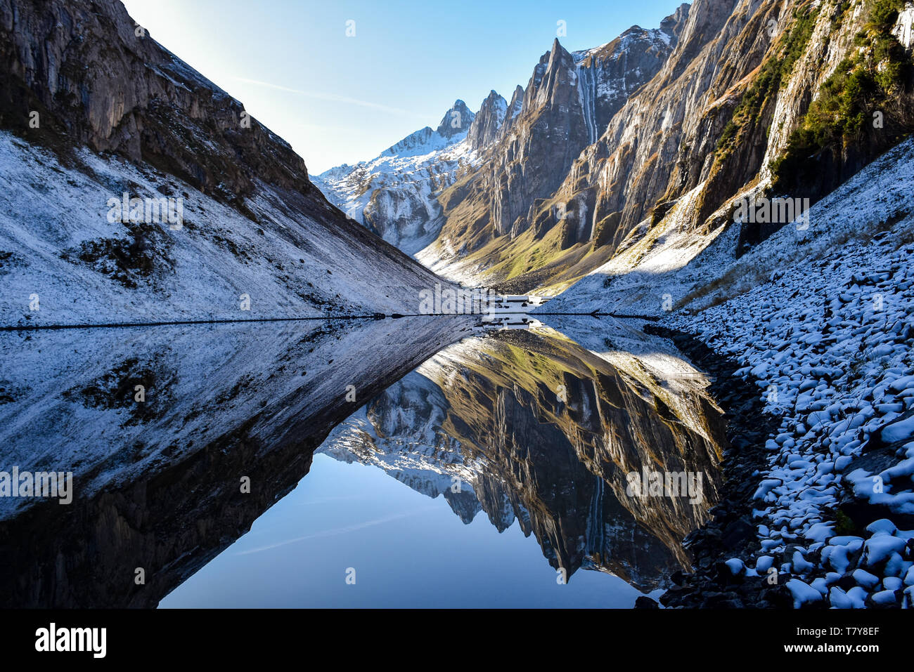 This is the Fählensee in the Alpstein near Appenzell (Switzerland) with very clear water. Sometimes the lake is like a mirror. Stock Photo