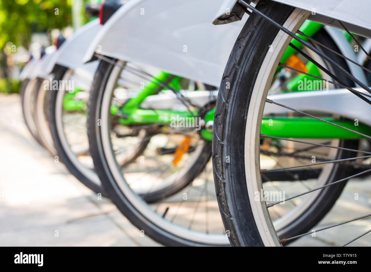 bicycle rack of the urban bike-sharing system in the city . - Stock Image