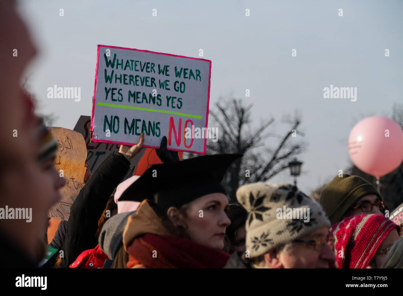 BERLIN, GERMANY - January 19, 2019:  Hundreds of women are protesting for equal rights and opportunities at the annual 'Women's March', a global movem - Stock Image