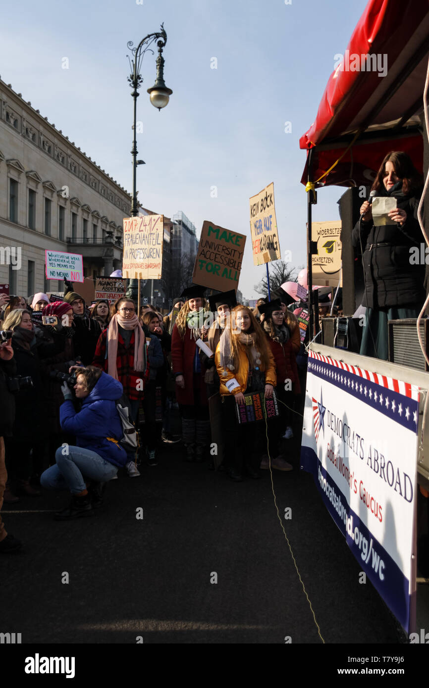 BERLIN, GERMANY - January 19, 2019:  Hundreds of women are protesting for equal rights and opportunities at the annual 'Women's March', a global movem Stock Photo