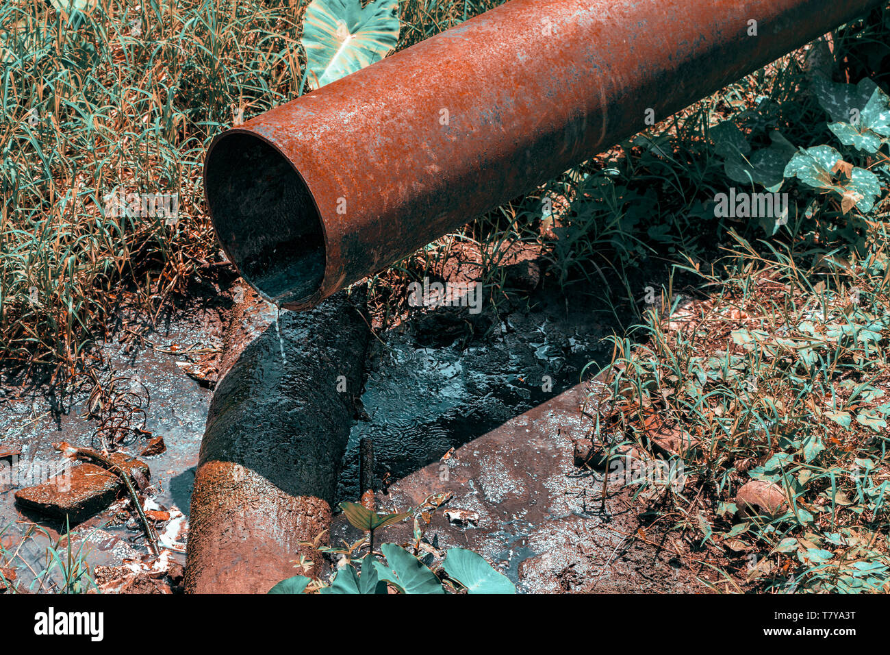 A rusty iron pipe pouring dirty water into a puddle - Stock Image