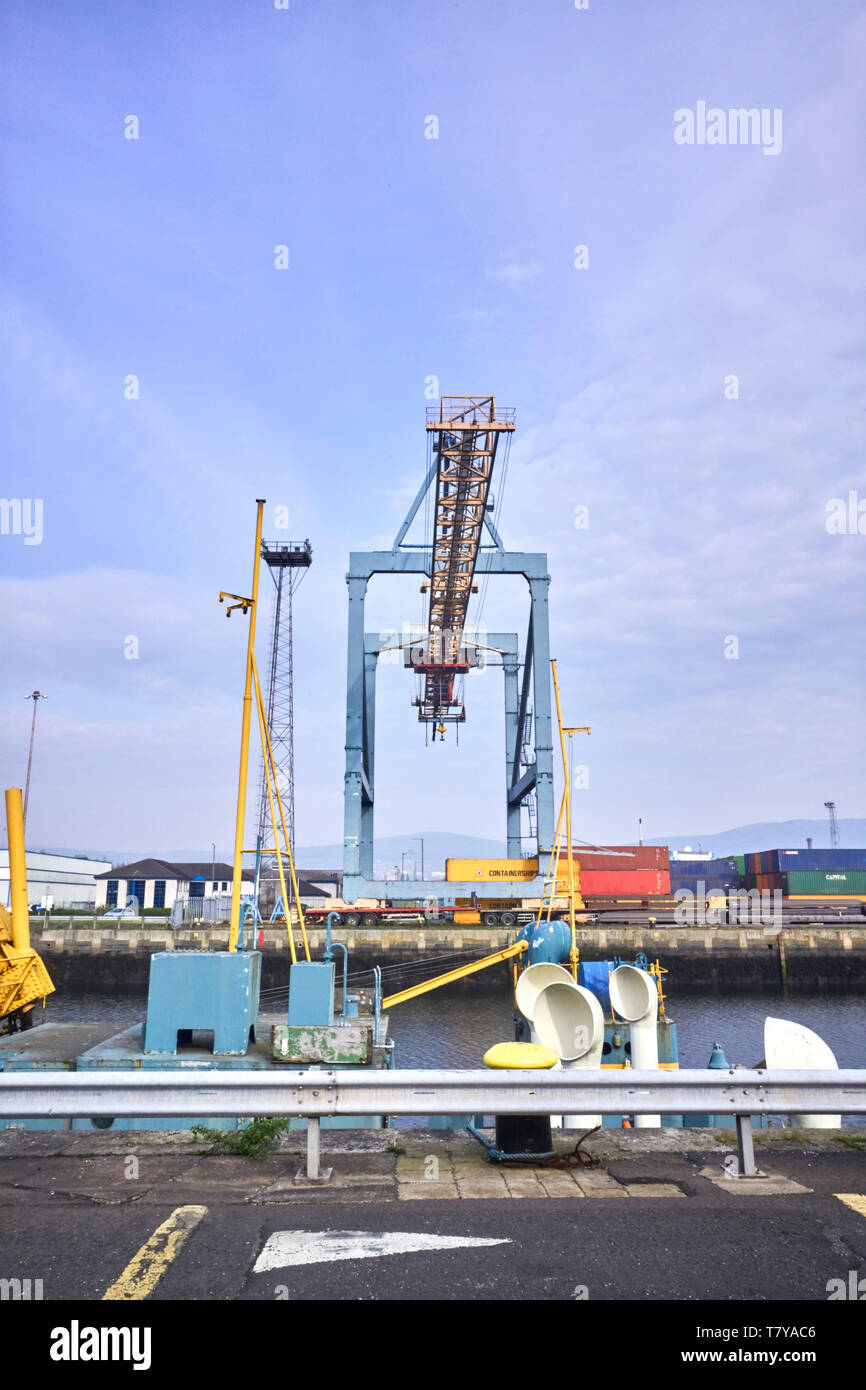 Container unloading crane at the port of Belfast, Northern Ireland - Stock Image