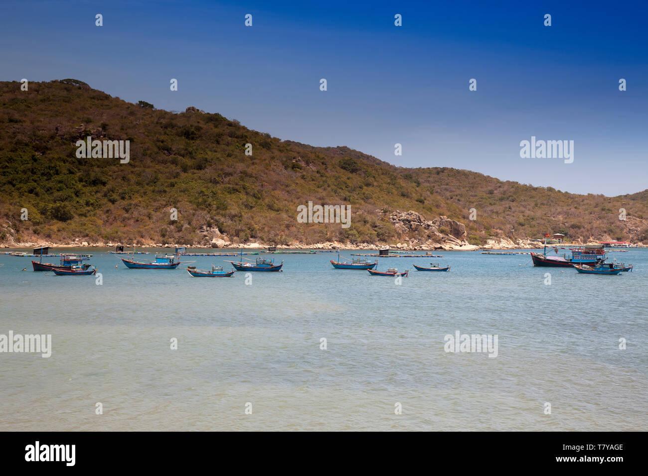 Landscape with fishing boats ,bay at Vinh Hy, South China Sea,Ninh Thuan, Vietnam,asia - Stock Image
