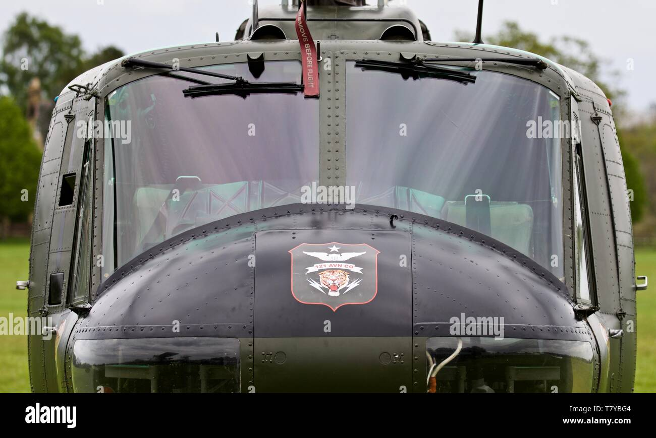 Bell UH-1 Iroquois on static display at Old Warden on the 5th May 2019 - Stock Image