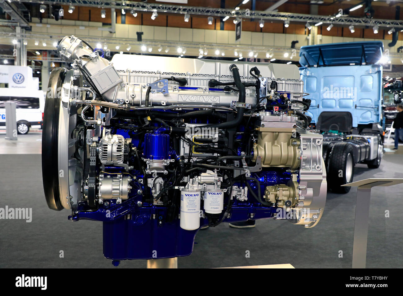 Helsinki, Finland. 09 May, 2019. Volvo D13TC I-Save Engine displayed on Volvo Trucks Stand on Transport-Logistics 2019. According to Volvo Trucks, New Volvo FH with I-Save cuts fuel costs by up to 7%. Credit: Taina Sohlman/agefotostock - Stock Image