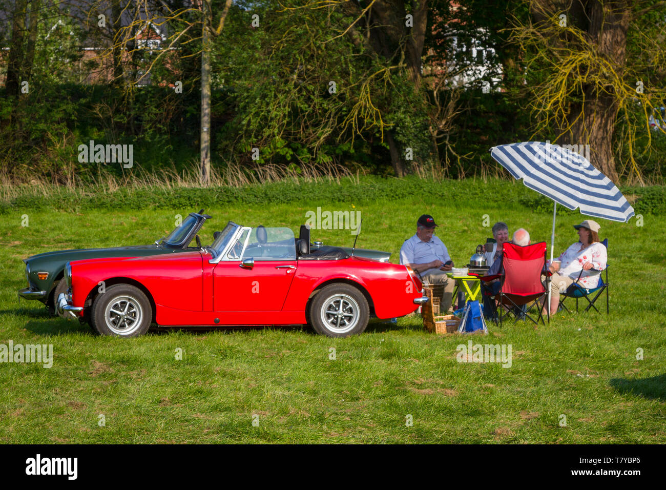 Two senior couples picnic in the evening sun beside their classic Englsih MG & Triumph sports cars at Wallingford, Oxfordshire - Stock Image