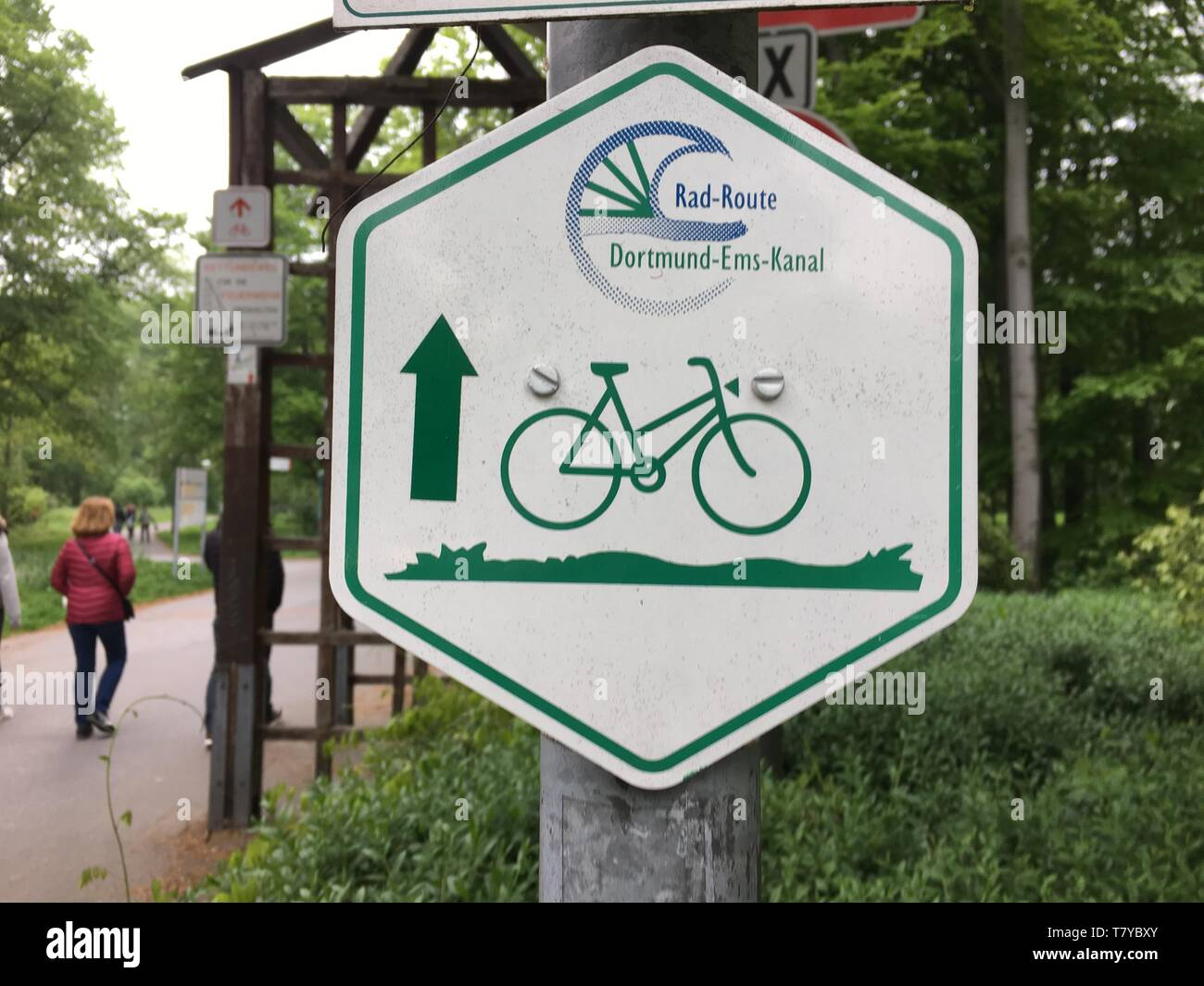 Richtungsanzeige am Dortmund-Ems-Kanal - Stock Image