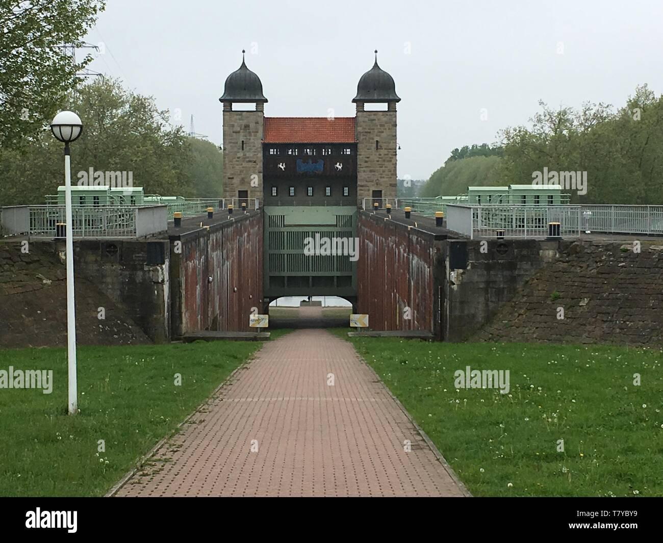 Historische Bauwerke am Dortmund-Ems-Kanal - Stock Image