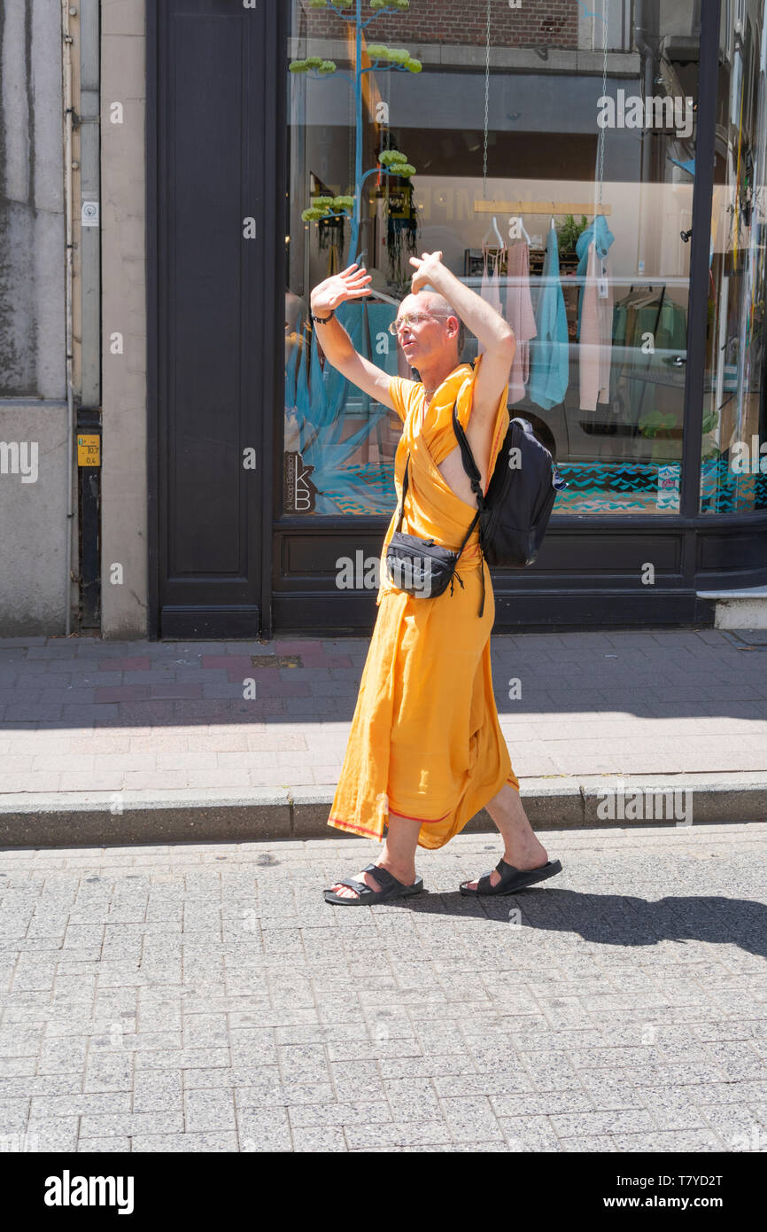 Antwerp, Belgium  - July 14, 2018: Indian monk during a parade in the city of Antwerp - Stock Image