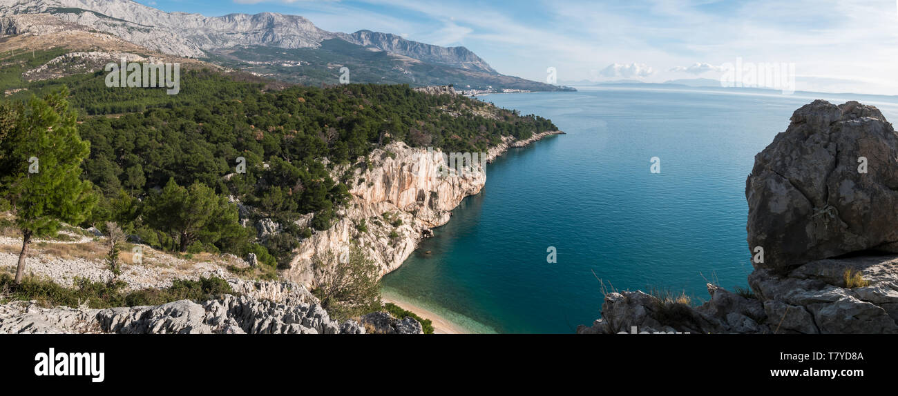 Panorama of small bay and beach Nugal on Makarska riviera in Croatia - Stock Image
