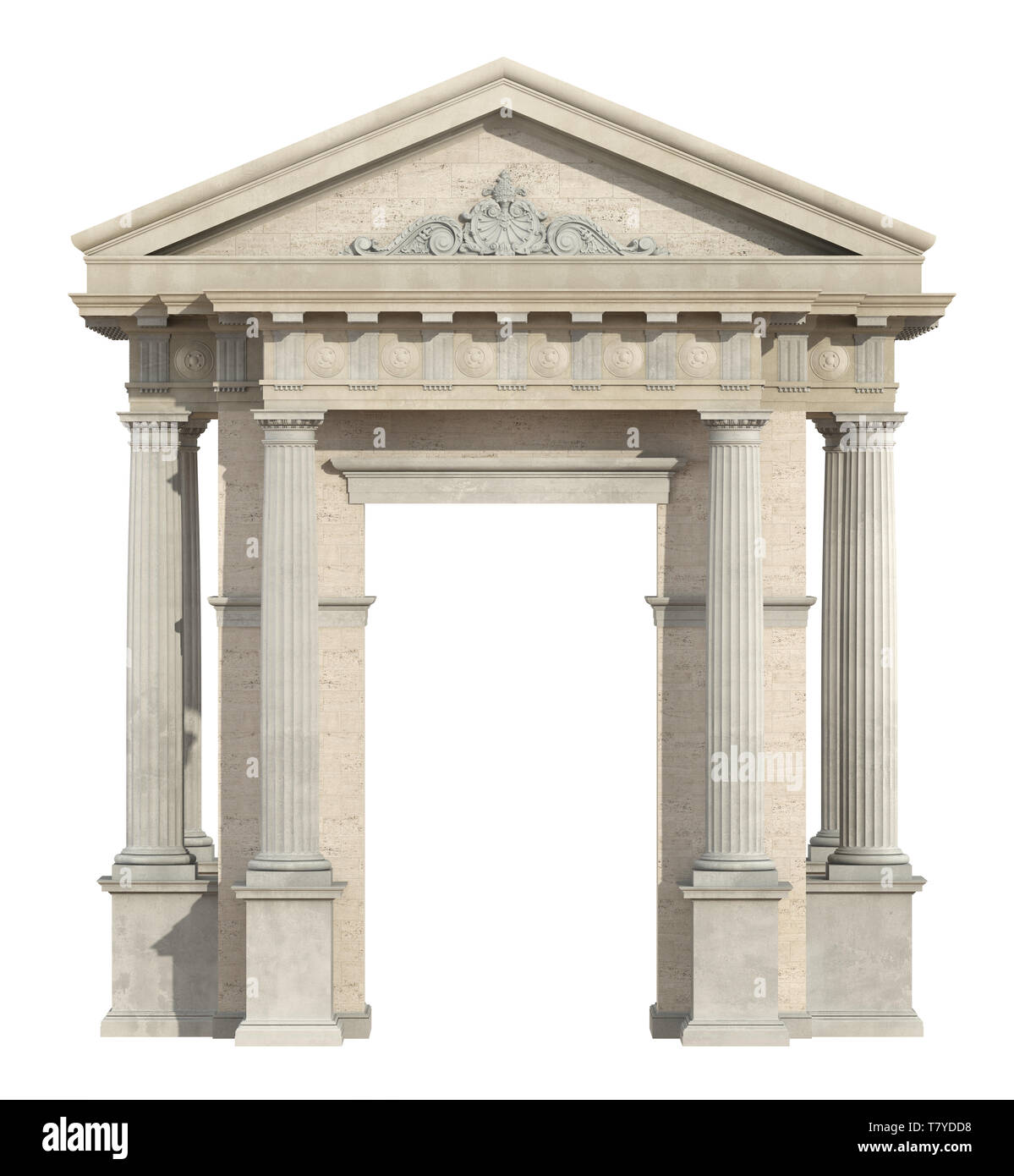 Portal in neoclassical style isolated on white with doric column and tympanon - 3d rendering - Stock Image