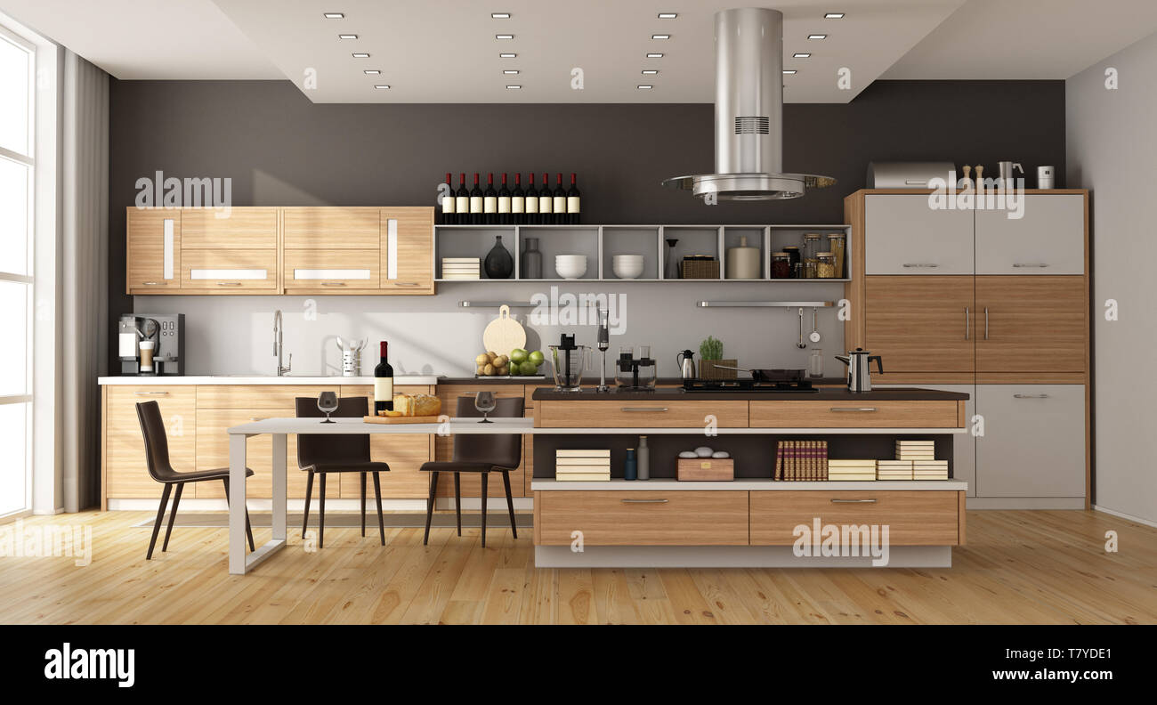 Contemporary kitchen with island,dining table and chair - 3d ...