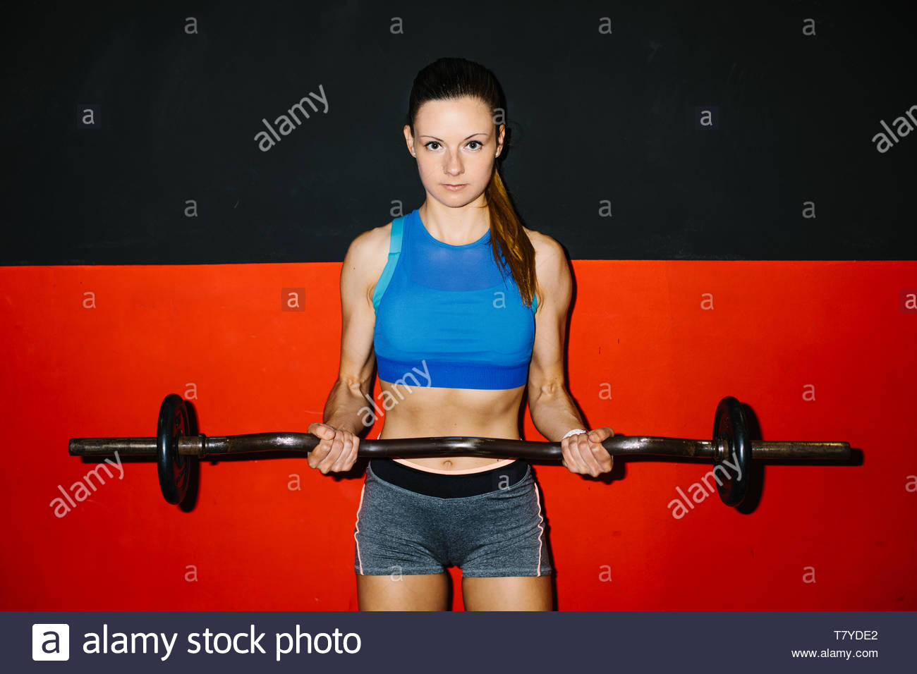 Young fitness woman working out arms biceps in the gym. - Stock Image