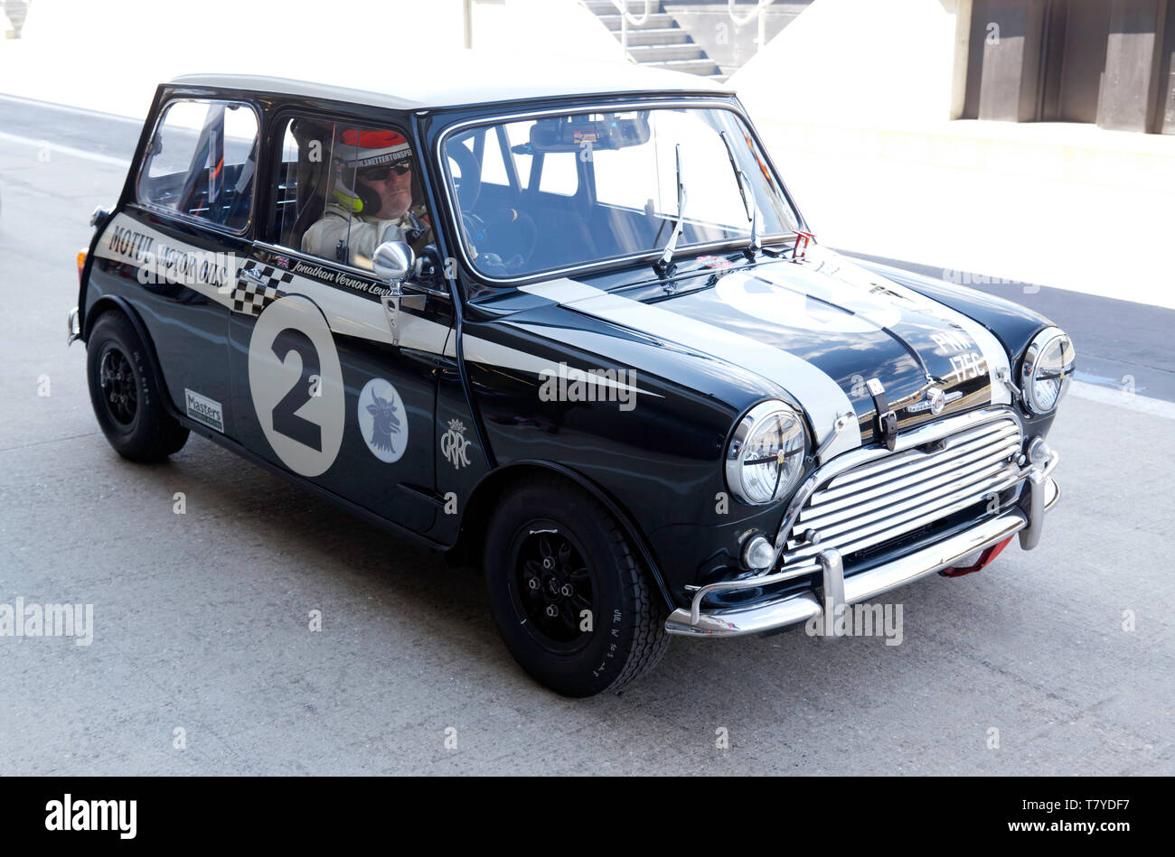 Jonathan Lewis in his 1965, Morris Mini Cooper, during the 2019 Silverstone Classic Media Day Stock Photo