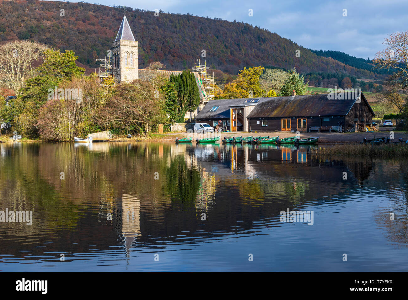 Port of Menteith Fisheries on Lake of Menteith in the Trossachs, Scotland, UK - Stock Image