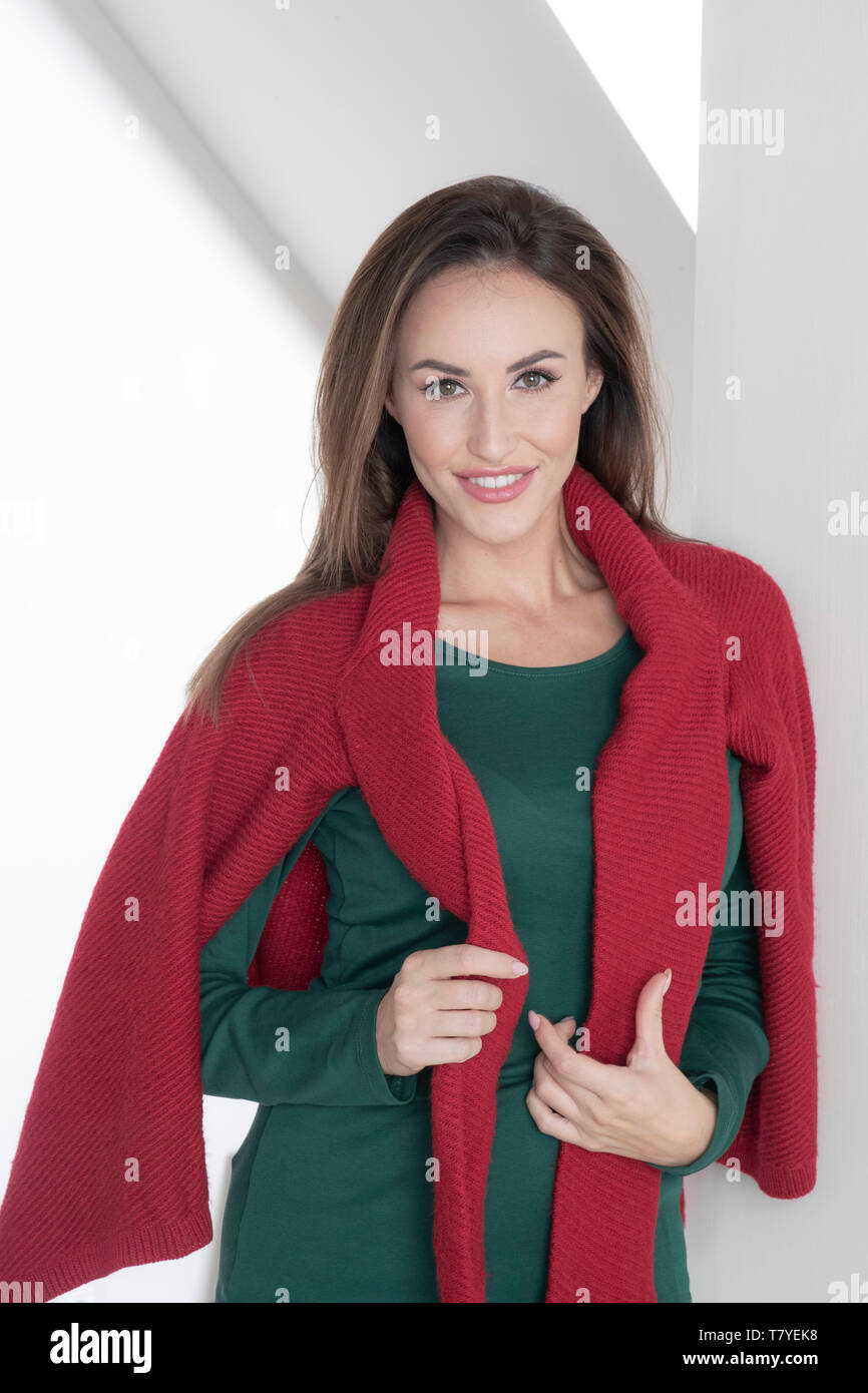 Portrait of young woman waring sweater Stock Photo