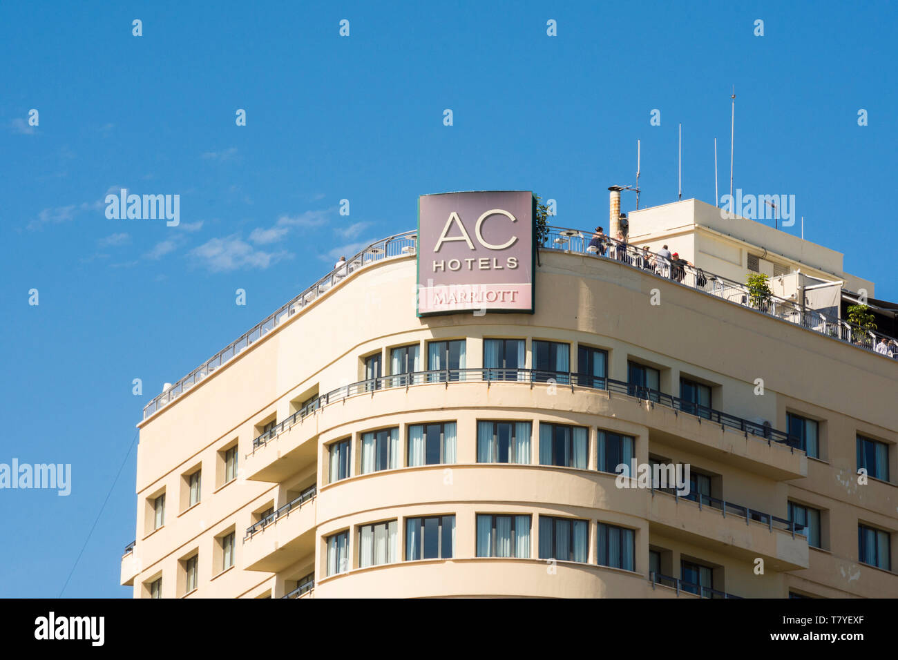 Facade AC Hotel Malaga Palacio, hotels, with rooftop terrace, Malaga, Andalusia, Spain. - Stock Image