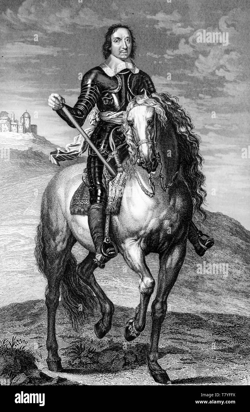Oliver Cromwell in armour, equestrian portrait engraving, Richard Cattermole, 1852 - Stock Image
