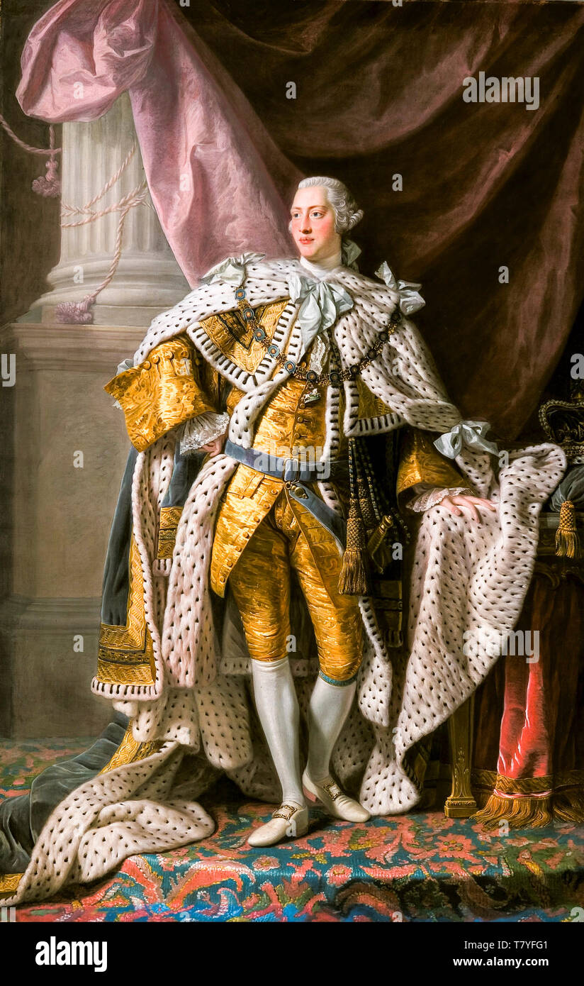 Allan Ramsay, King George III in coronation robes, portrait painting, c. 1765 - Stock Image