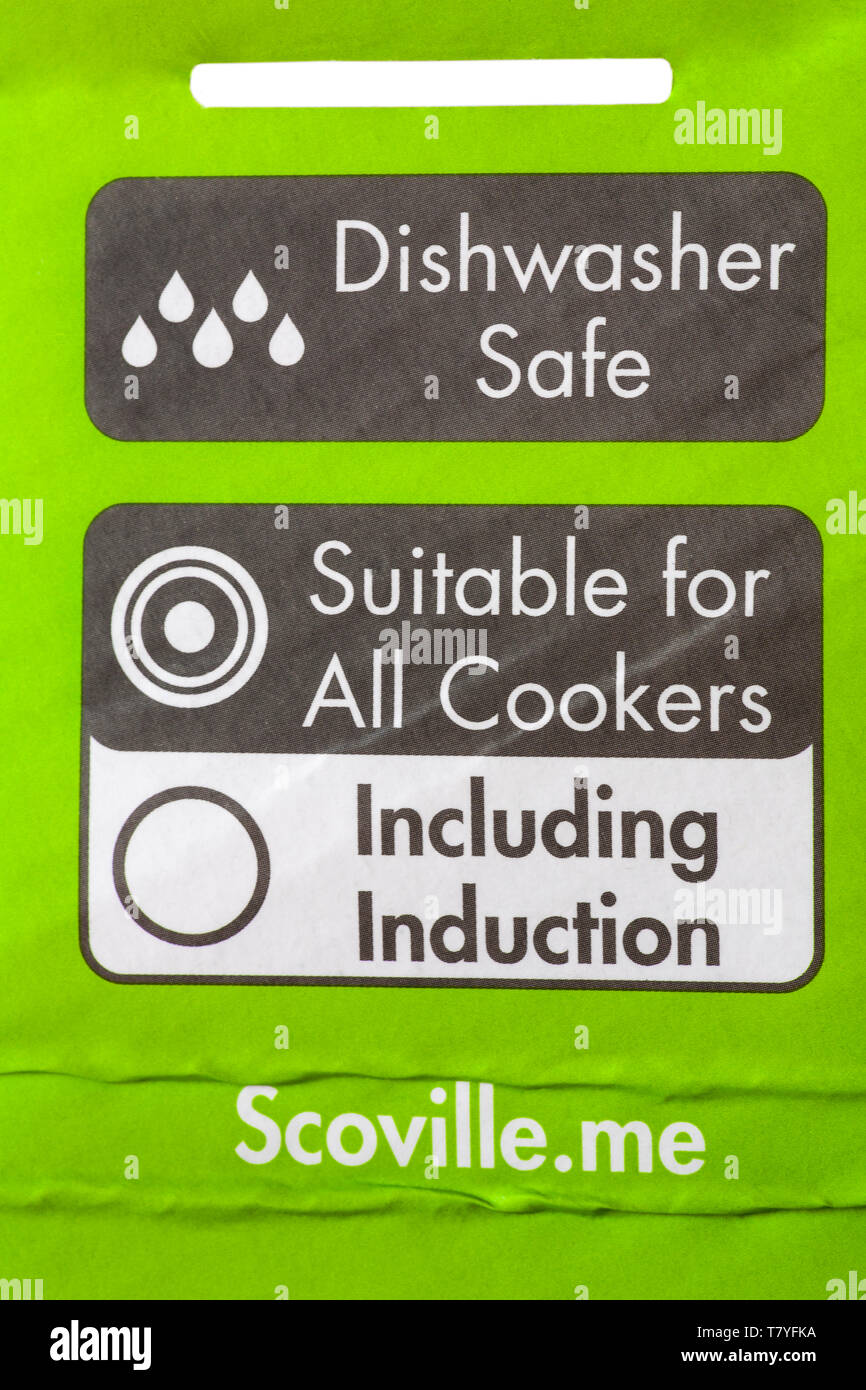 dishwasher safe, suitable for all cookers, including induction - detail on packaging of 28cm frying pan - Stock Image