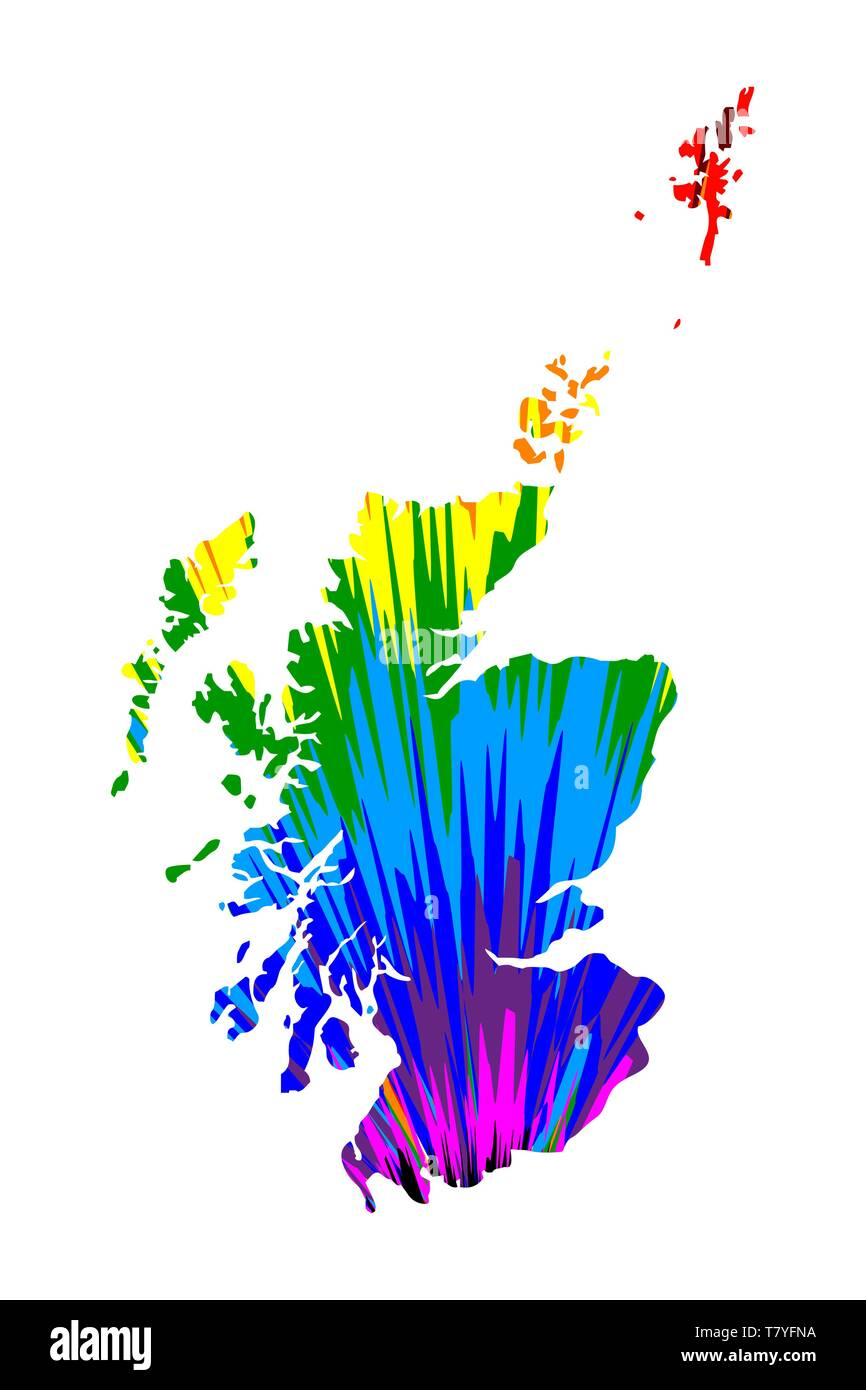 Scotland - map is designed rainbow abstract colorful pattern, Scotland map made of color explosion, - Stock Vector