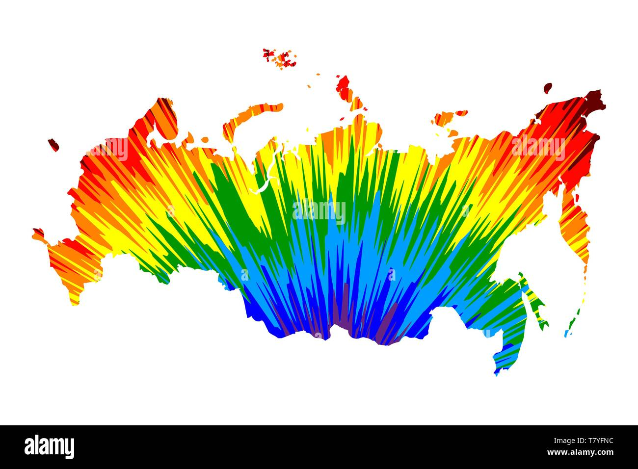 Russia - map is designed rainbow abstract colorful pattern, Russian ...