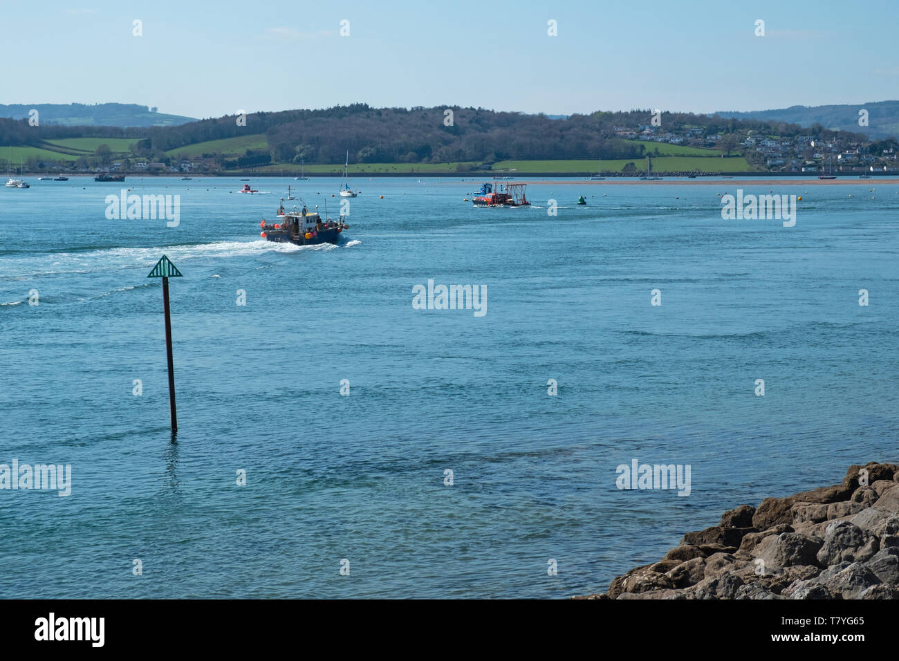 View of the river Exe estuary near Exmouth in South Devon UK - Stock Image