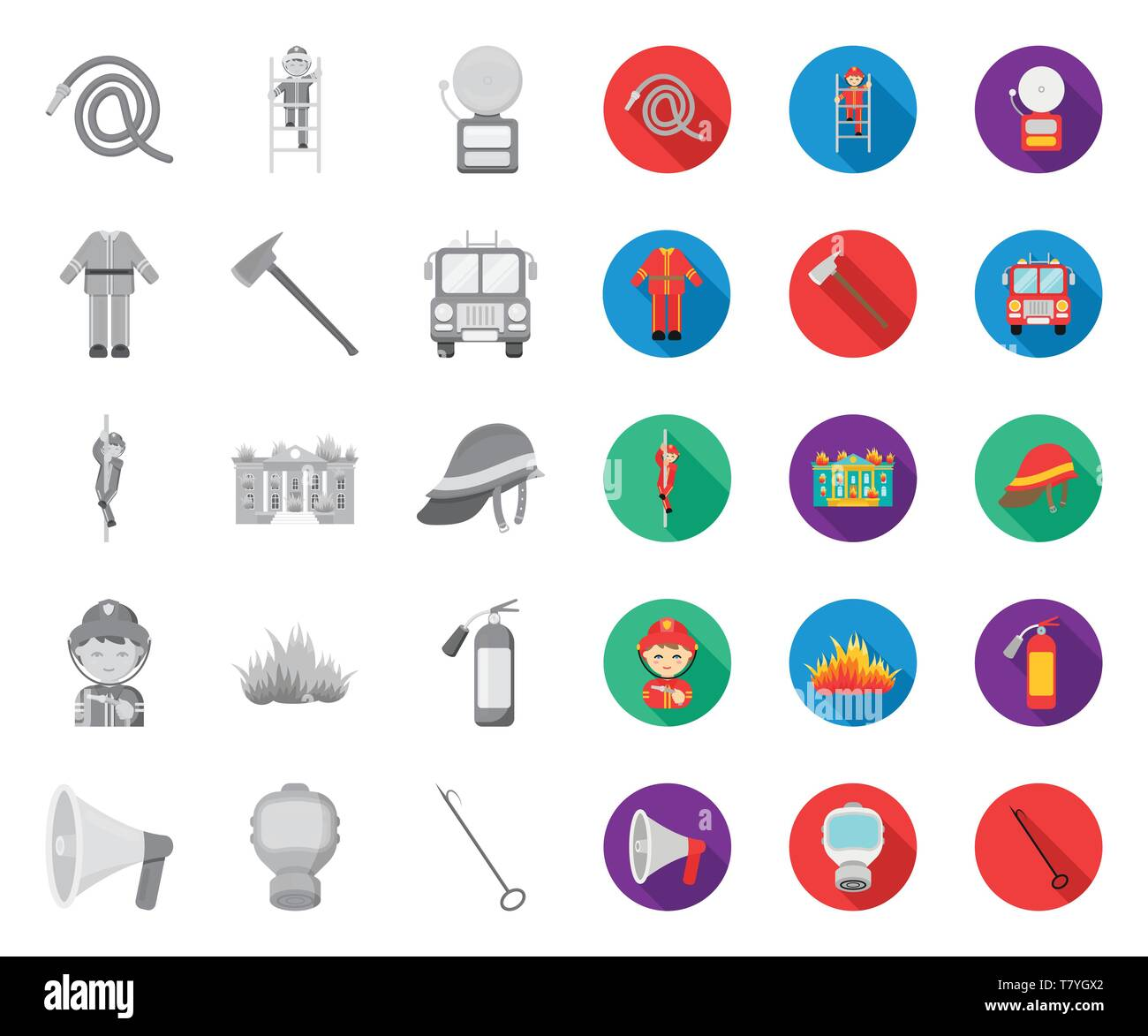 Fire Department mono,flat icons in set collection for design. Firefighters and equipment vector symbol stock  illustration. - Stock Image