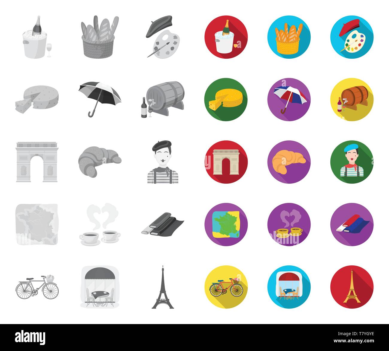 Country France mono,flat icons in set collection for design. France and landmark vector symbol stock  illustration. - Stock Image