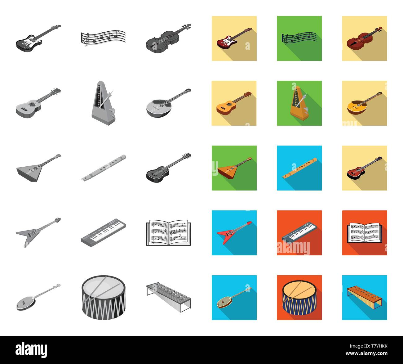 Musical instrument mono,flat icons in set collection for design. String and Wind instrument isometric vector symbol stock illustration. - Stock Image