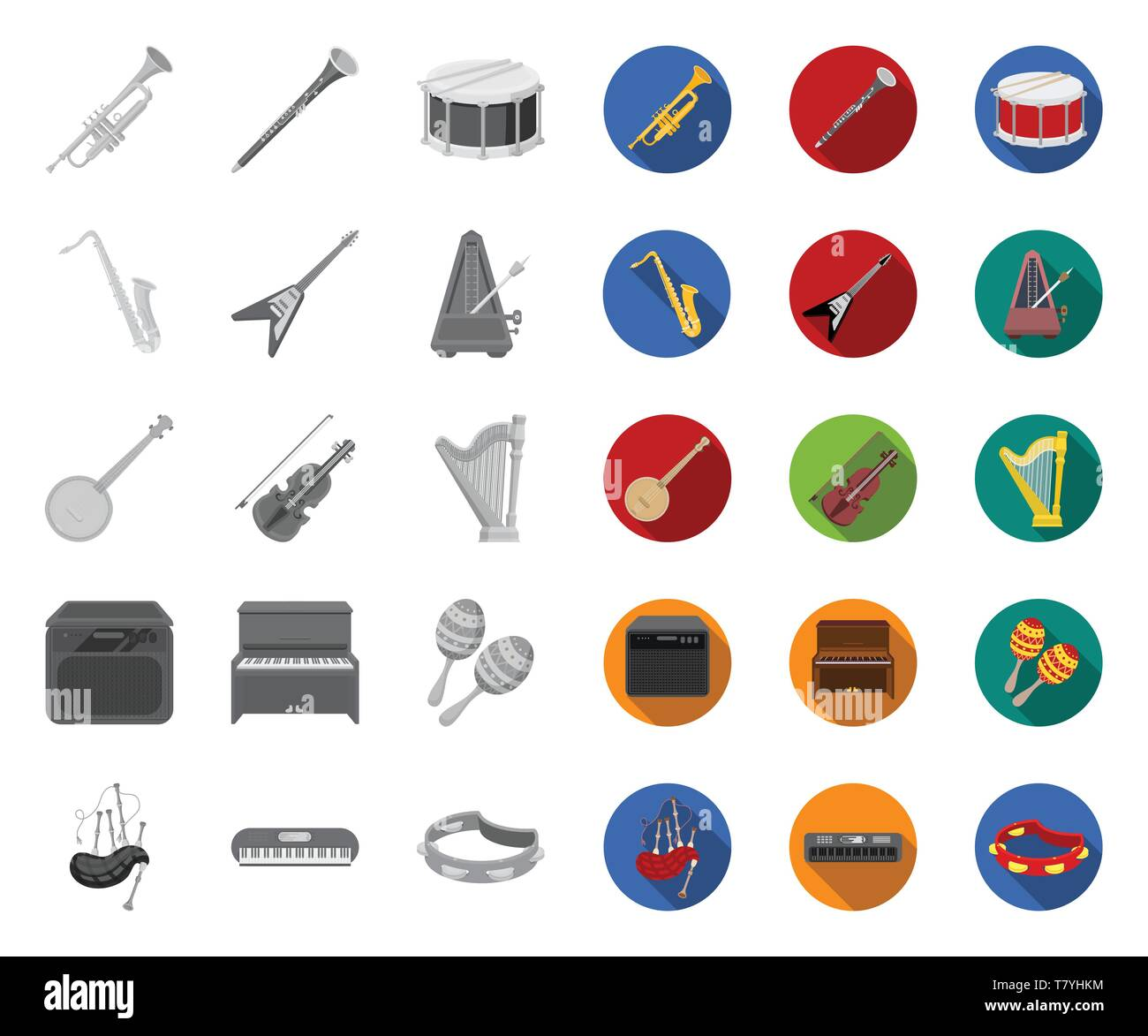 Musical instrument mono,flat icons in set collection for design. String and Wind instrument vector symbol stock  illustration. - Stock Image