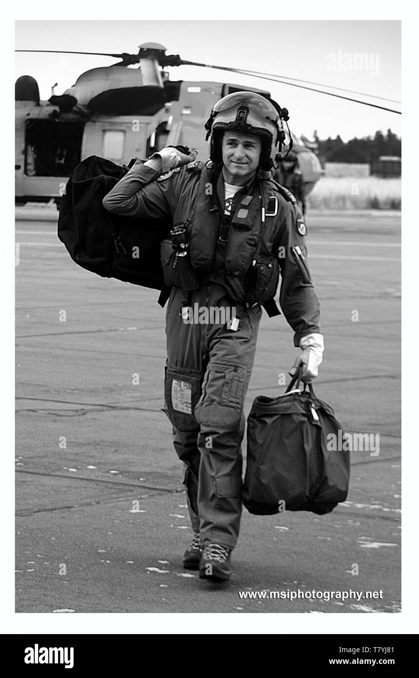 Military Helicopter pilot - Stock Image