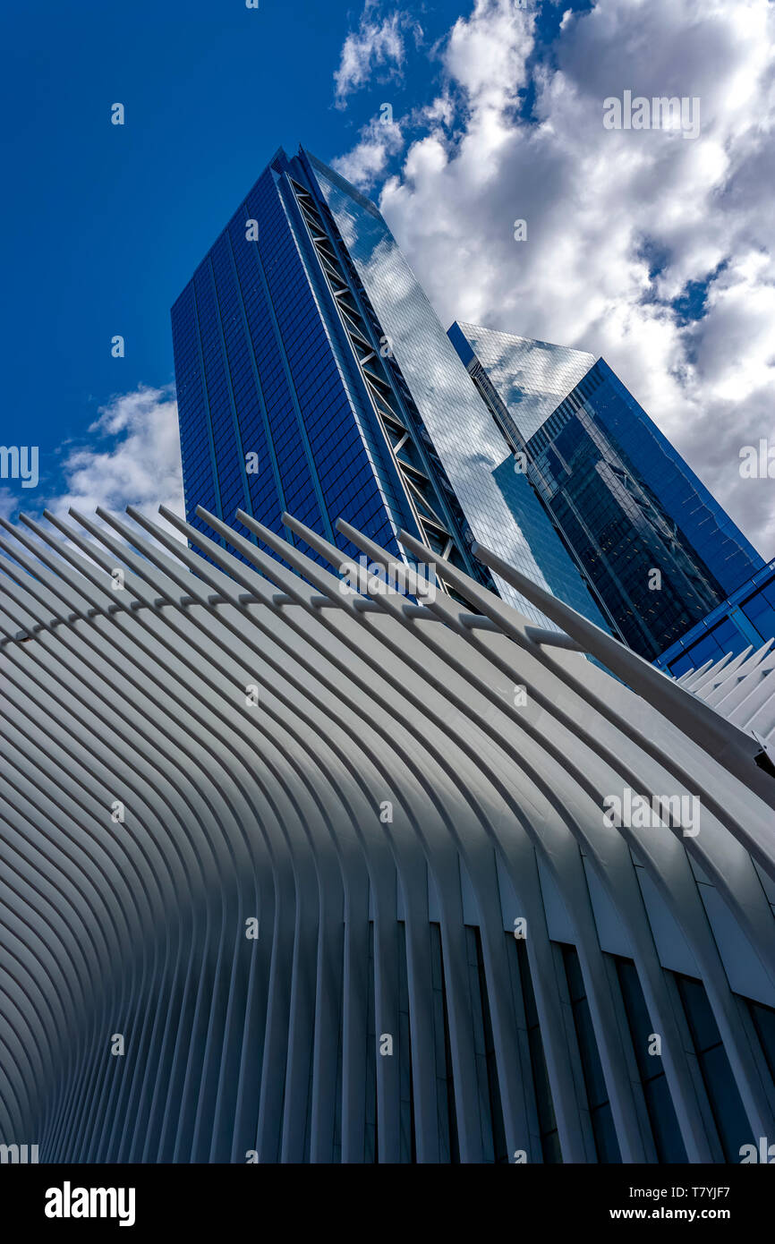View from beneath the Oculus (World Trade Center Transportation Hub) looking up towards 3 WTC and 4 WTC buildings, Lower Manhattan, New York City, USA - Stock Image