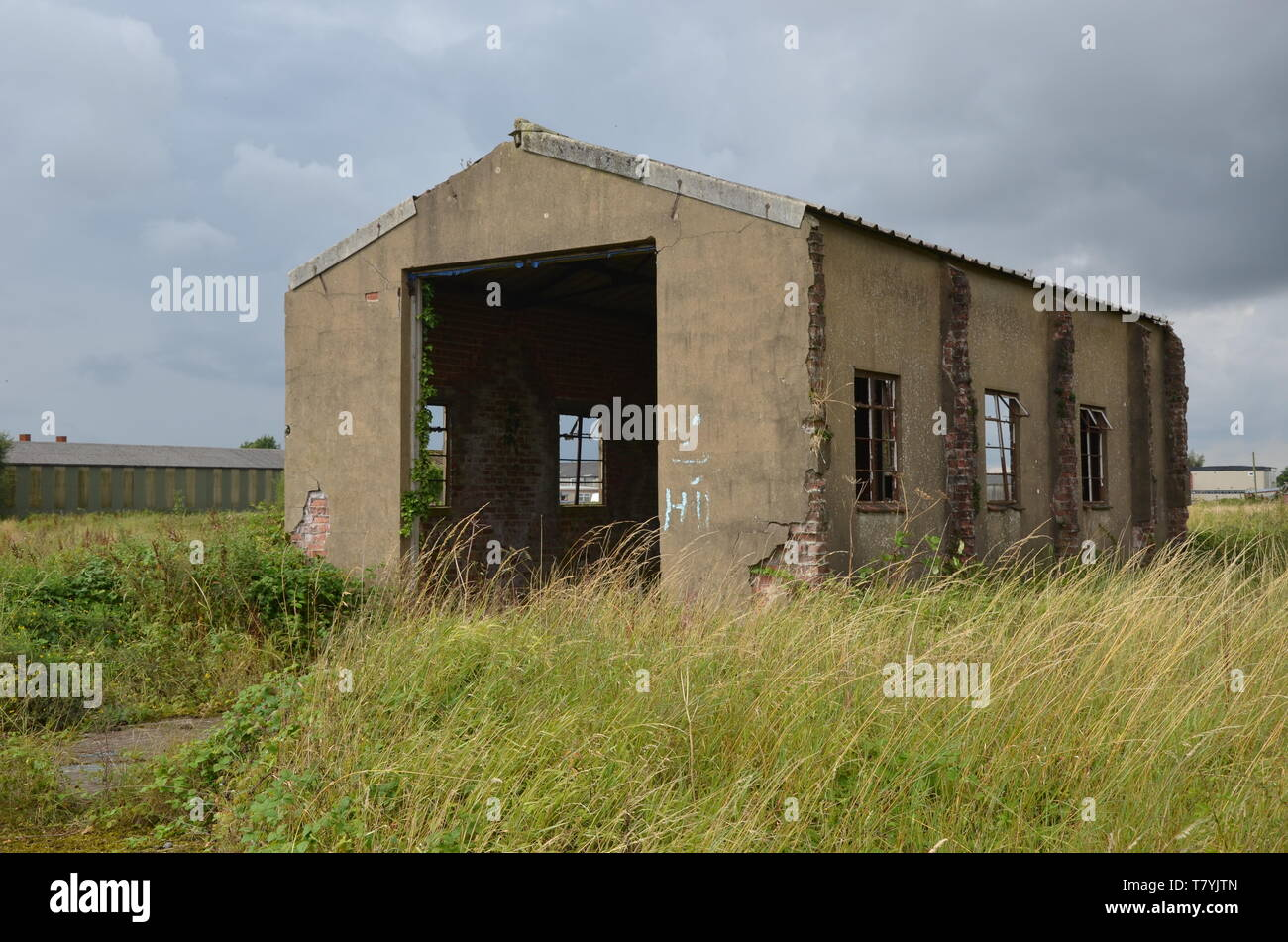 RAF Tholthorpe fire tender shed, ww2 military airfield Stock Photo