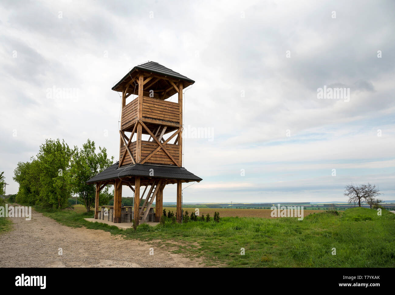 The wooden watchtower  in the countryside - Stock Image