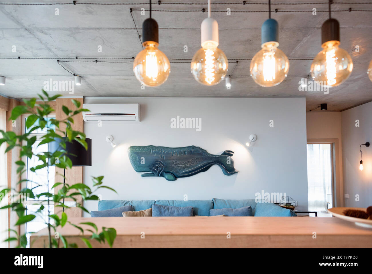 Minimalist Modern Living Room With Sofa In Loft Style Flat