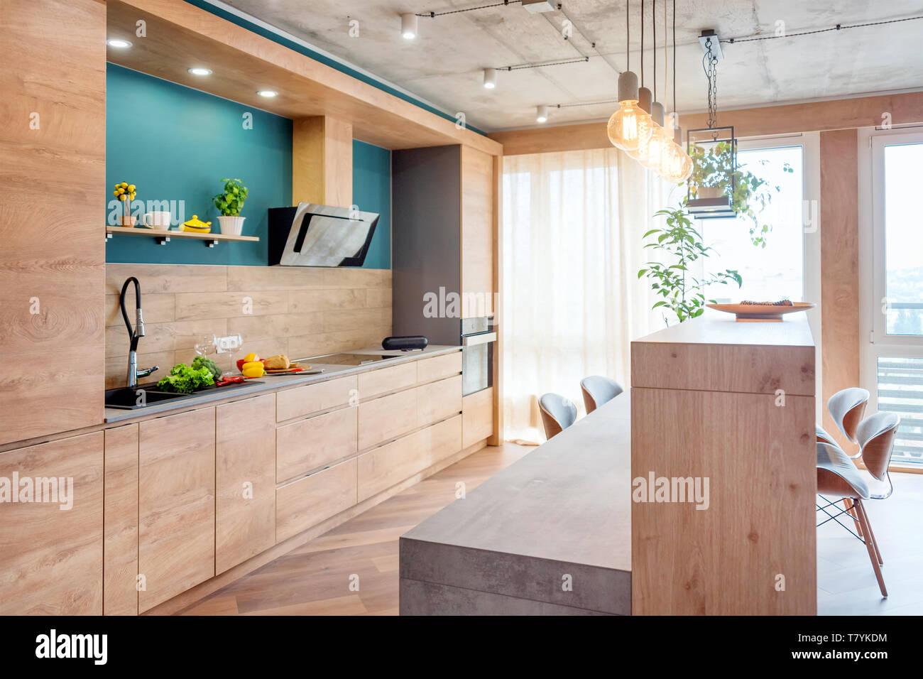 Modern furniture in luxury kitchen. Minimalist scandinavian ...