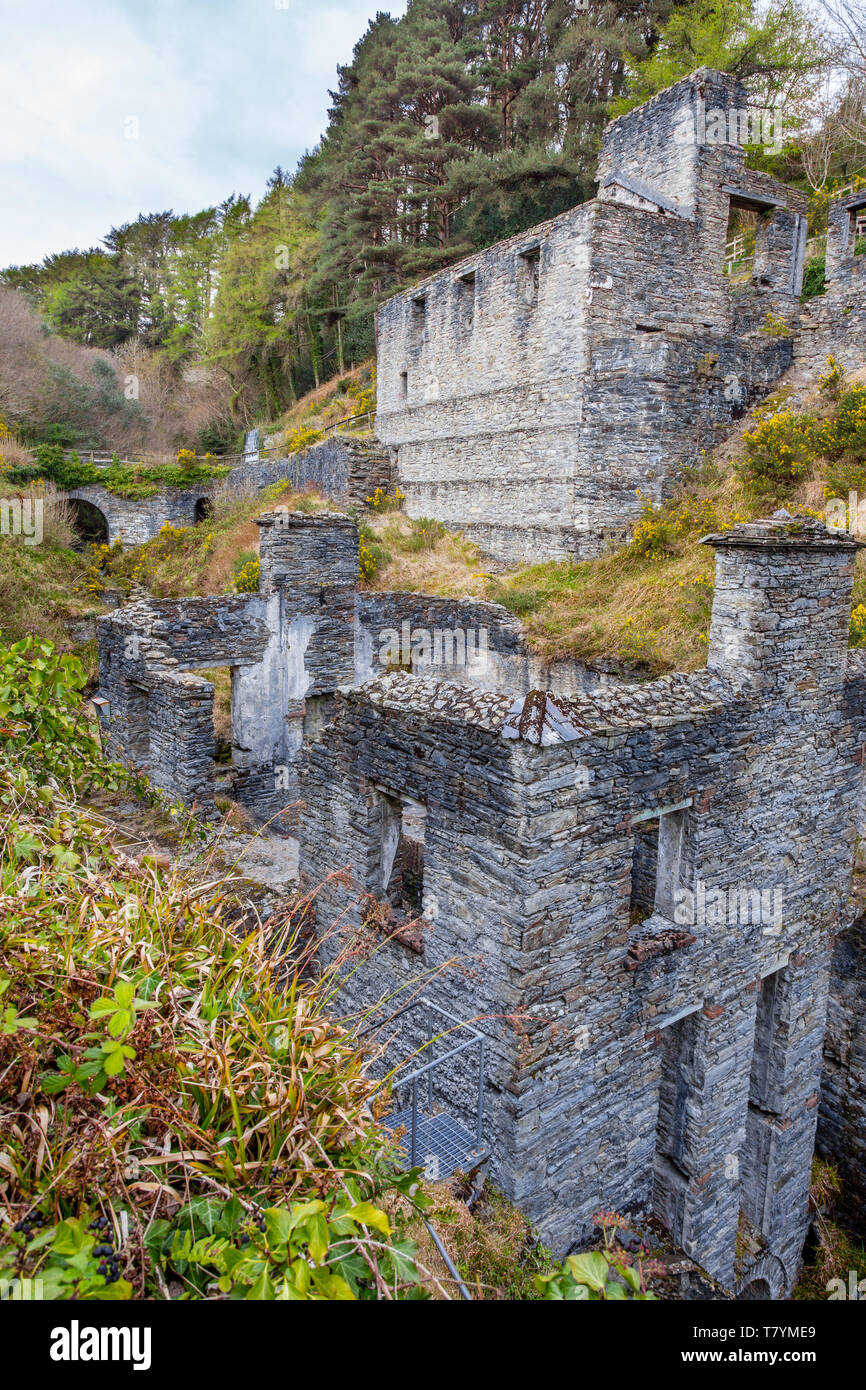 Disused mine buildings at Laxey, Isle of Man - Stock Image