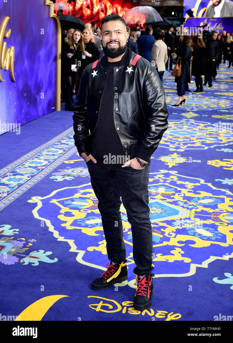 Humza Arshad attending the Aladdin European Premiere held at the Odeon Luxe Leicester Square, London. - Stock Image