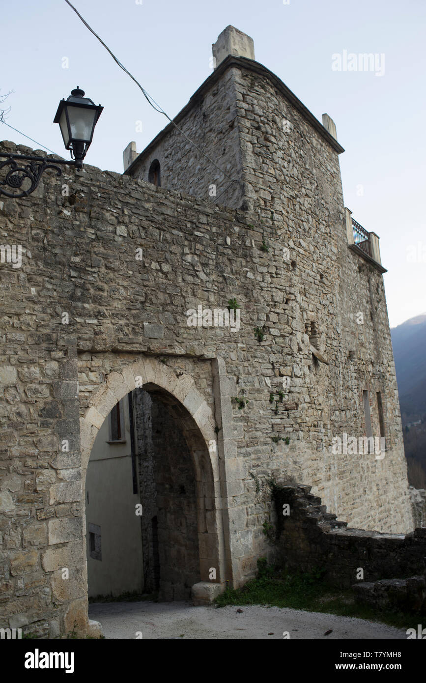 City walls,Castel S.Angelo sul Nera,Marche,Italy - Stock Image