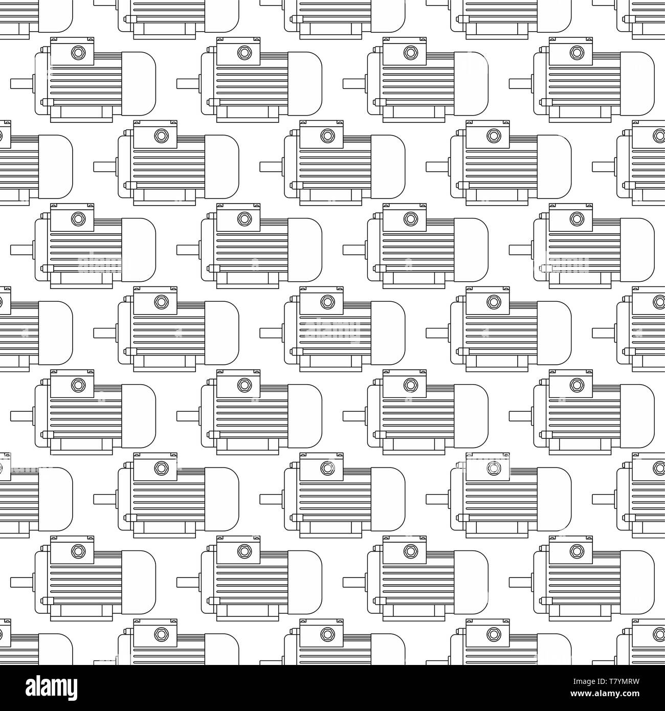 Seamless pattern of the contour electric motors - Stock Vector