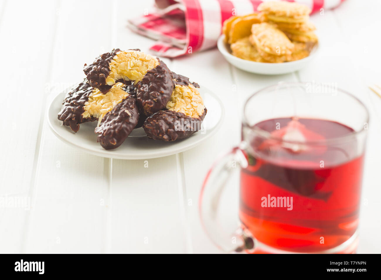 Sweet biscuits dessert on white table. - Stock Image