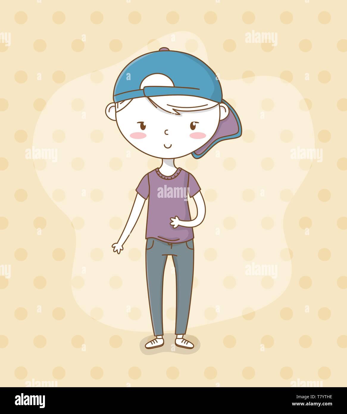 Beautiful little boy with sport cap vector illustration design